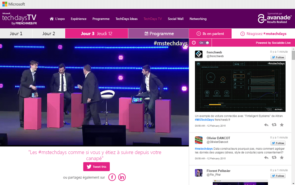 The Microsoft TechDays 2015 Live Interface