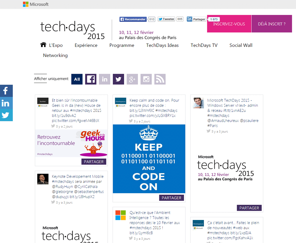 The Microsoft TechDays 2015 Social Wall
